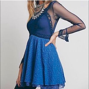 Free People V for Victorian Navy Blue Lace Dress